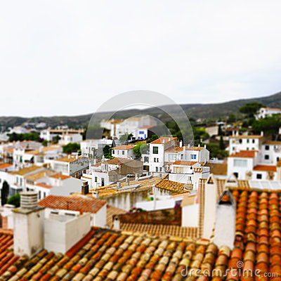Faked tilt shift of view of Cadaques