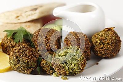 Falafel chickpea balls closeup