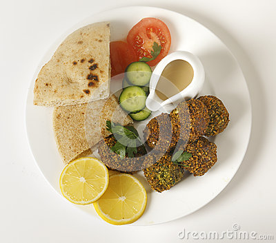 Falafel plate from above
