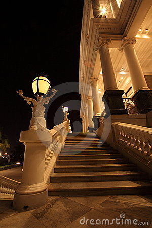Falaknuma Palace entrance at night
