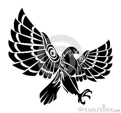 Falcon Tattoo Stock Illustration - Image: 73709552 White Falcon Bird Tattoo