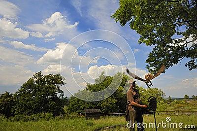 Falconer with falcon falco cherrug .