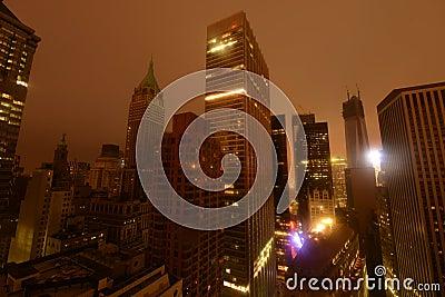 Falho eléctrico da baixa de Manhattan devido a Sandy Foto Editorial
