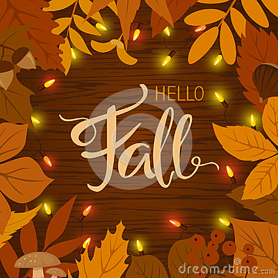 Free Fall Autumn Border Frame Background With Leaves And Light Bulbs Stock Images - 97444454