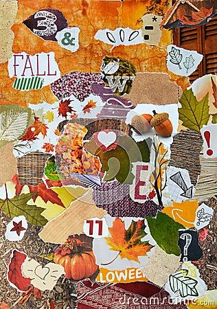 Fall Autumn Season Atmosphere Mood Board Collage Stock