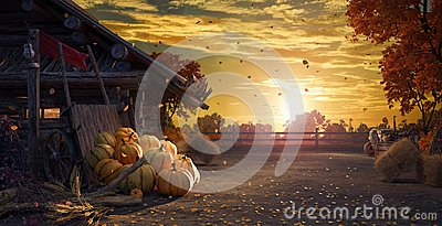 Fall in backyard with leaves falling from trees and pumpkins, autumn background Stock Photo