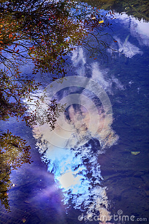 Free Fall Blue Sky Sun Water Reflection Abstract Wenatchee River Royalty Free Stock Photo - 45897245