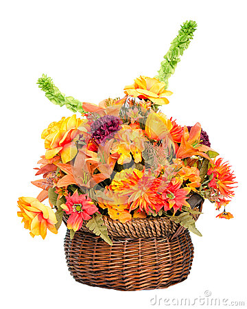 Fall color silk flower arrangement