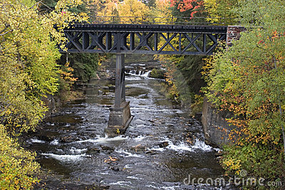 Fall Colors, Waterfall, Railroad Bridge, Landscape