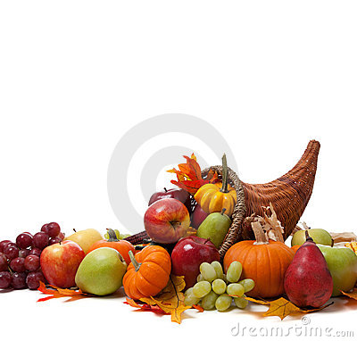 Free Fall Cornucopia On A White Back Ground Royalty Free Stock Images - 11373549