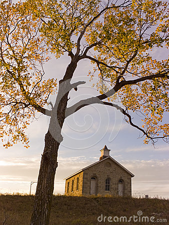 Free Fall Cottonwood Tree And Limestone One Room School Royalty Free Stock Images - 32699919