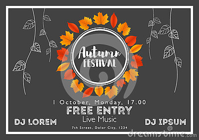 Fall Festival template. Bright colourful autumn leaves on horizontal background. Vector Illustration
