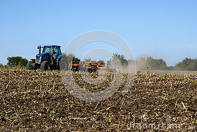 Fall field harrowing landscape