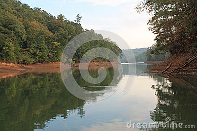 Fall foliage greenery reflected on Tennessee lake