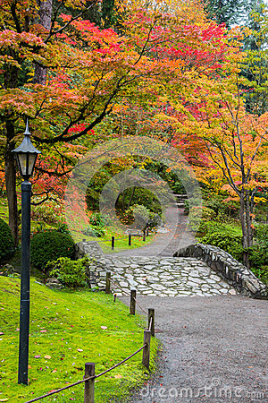 Free Fall Foliage Stone Bridge Stock Image - 46361871