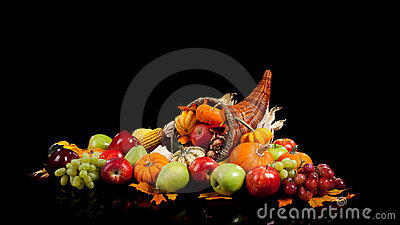 Fall fruits and vegetables in a cornucopia