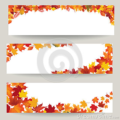 Fall leaves banner set. Swirl autumn leaf background. Nature border Stock Photo