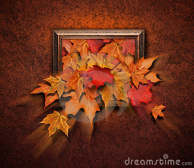 Fall Leaves Coming Out of Antique Frame