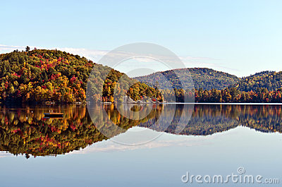 Fall Mountain Colours Reflected in Lake