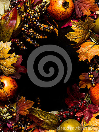 Fall oval border wreath