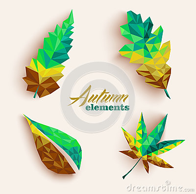 Fall season triangle leaves composition icon set. EPS10 file.