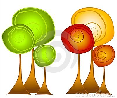 Fall and Summer Trees Clip Art