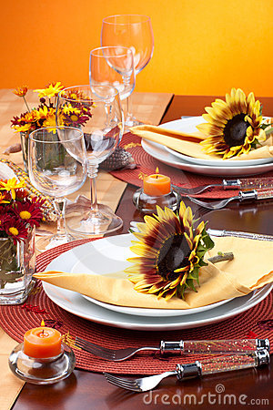 Free Fall Theme Dinner Table Set Royalty Free Stock Image - 16225866