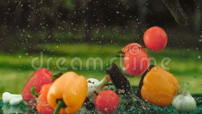 Fall vegetables on the table. Raindrops, lifestyle, slow motion, food styling