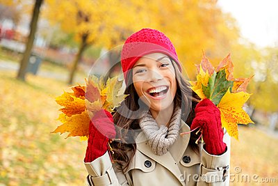 Fall woman happy and bliss