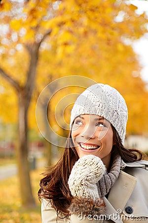 Fall woman thinking looking