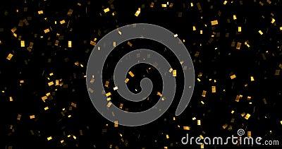 Fallande guld blänker foliekonfettier, rörelse för animering 3d på svart bakgrund