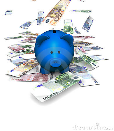 Fallande piggybank för euro