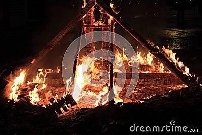 Fallas fest fire burning figures in Valencia Spain