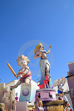 Fallas Valencia papier mache popular fest figures Editorial Stock Photo