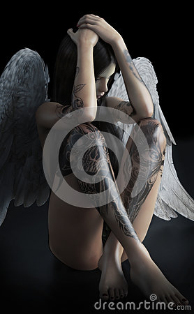 Free Fallen Angel. Young Female That Is Feeling Sad ,depressed Or Has An Addiction As The Light Of Hope Is Cast Upon Her Concept Stock Image - 90110041