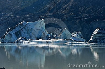 Fallen iceberg on Tasman glacier lake, New Zealand