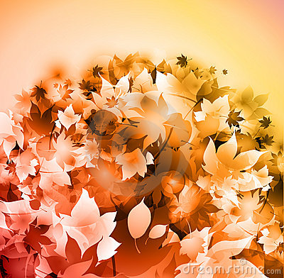 Fallen leaves yellow background