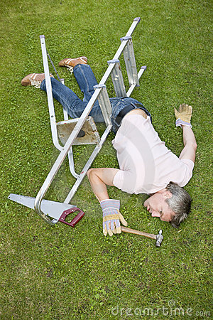 Fallen man in garden