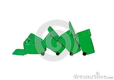 Fallen Recycling bins