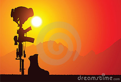 Fallen soldat för strid kors
