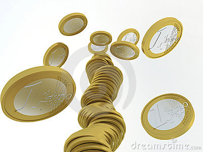 Fallen stack of euro coins