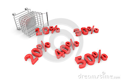 Fallen trolley with scattered discounts