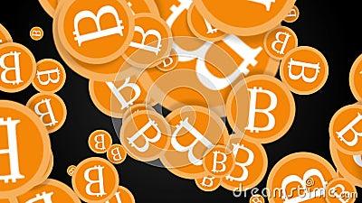 Fallende Bitcoin-Münzen 2d Animation stock video footage