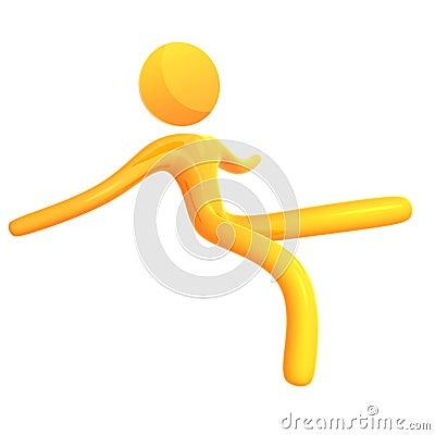 Falling 3d humanoid icon