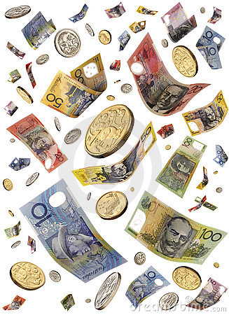 Free Falling Australian Money Stock Image - 6141051