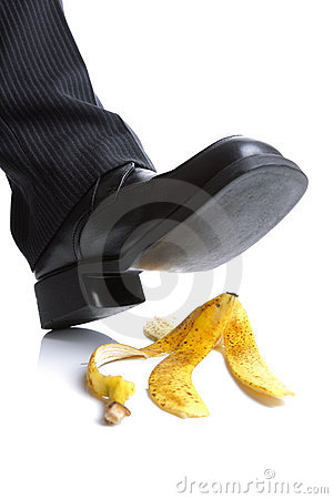Falling on a banana skin