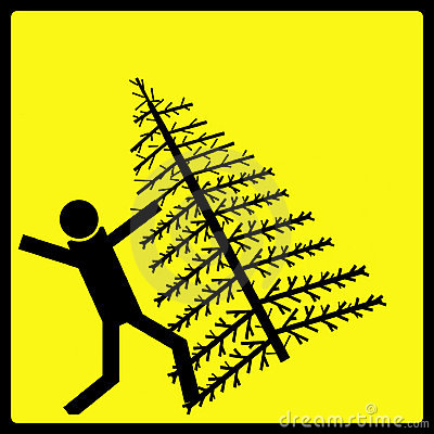 Free Falling Christmas Tree Warning Sign Stock Images - 42034