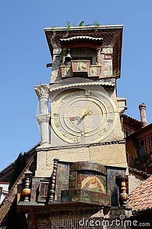 Free Falling Clock Tower In Sololaki Old District Of Tbilisi,Georgia Stock Photo - 44911230