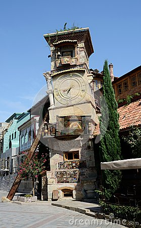Free Falling Clock Tower Of Tbilisi S Puppet Theatre,Georgia Royalty Free Stock Photography - 46714207