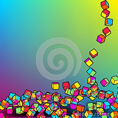 Falling colour cubes abstract template. EPS8